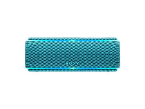 Sony SRS-XB21 kabelloser Bluetooth Lautsprecher (tragbar, farbige Lichtleiste, Extra Bass, NFC, wasserabweisend, kompatibel mit Party Chain) blau