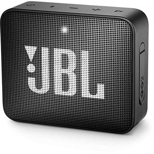 JBL GO 2 kleine Musikbox in Schwarz, Wasserfester, portabler Bluetooth-Lautsprecher mit Freisprechfu...