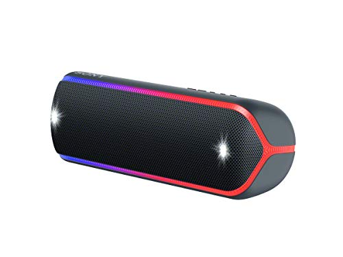 Sony SRS-XB32 kabelloser Bluetooth Lautsprecher (tragbar, NFC, farbige Lichtleiste, Extra Bass, Stro...